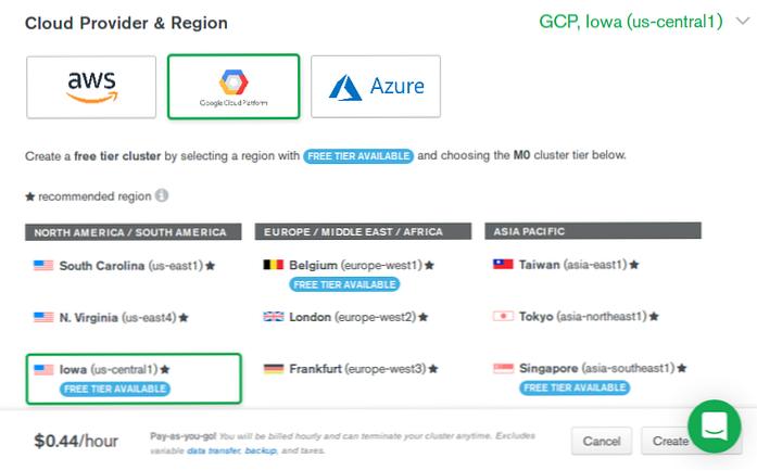 Créer un cluster de bases de données dans le cloud avec MongoDB